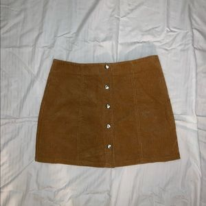 Tan/camel corduroy women's skirt with buttons
